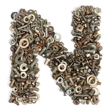 letter n: alphabet made of bolts - The letter n