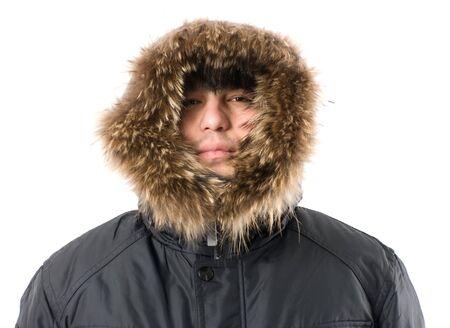 fur hood: man freezing