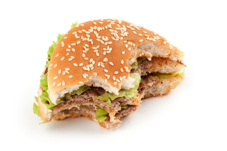 nibble: Tasty big hamburger isolated on white background Stock Photo