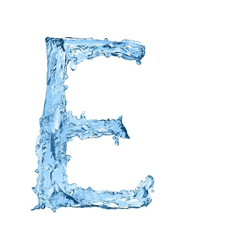 frozen water: alphabet made of frozen water - the letter E Stock Photo