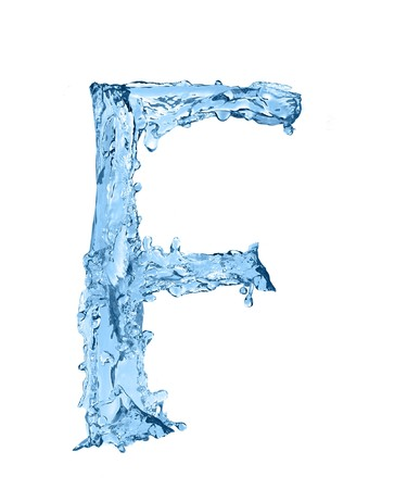 frozen water: alphabet made of frozen water - the letter F Stock Photo