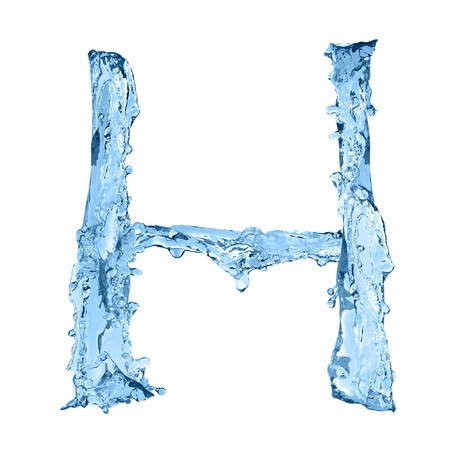 ice font: alphabet made of frozen water - the letter H