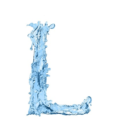 ripple effect: alphabet made of frozen water - the letter L