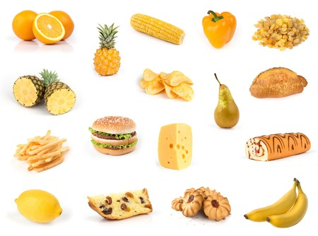 All yellow. Food collection isolated on white Stock Photo - 7142818