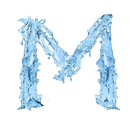 frozen water: alphabet made of frozen water - the letter M