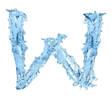 alphabet made of frozen water - the letter W photo