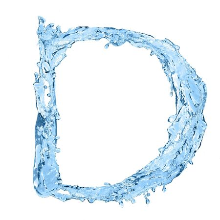 frozen water: alphabet made of frozen water - the letter D
