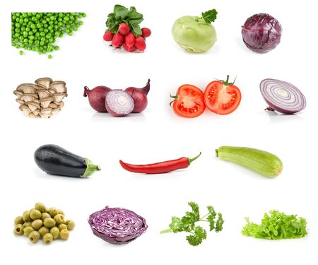 vegetable food collection isolated on white background Stock Photo - 7163296