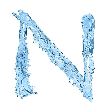 frozen water: alphabet made of frozen water - the letter N
