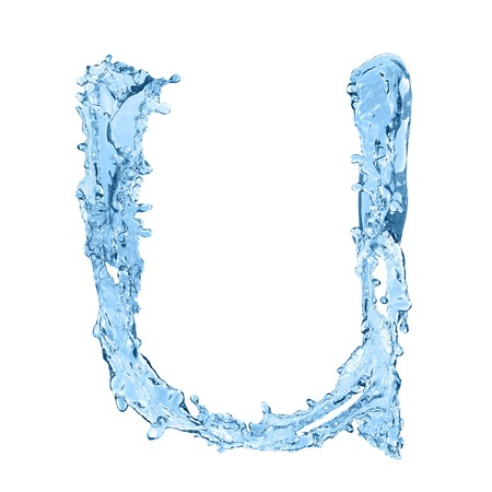 frozen waves: alphabet made of frozen water - the letter U