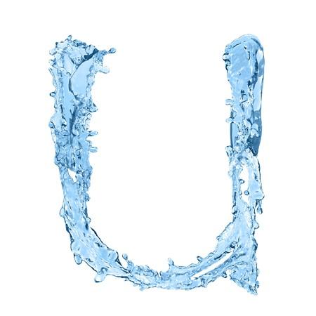 frozen waves: alphabet made of frozen water - the letter U