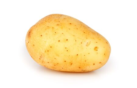 potato chips: One unpeeled raw potato isolated on a white background Stock Photo