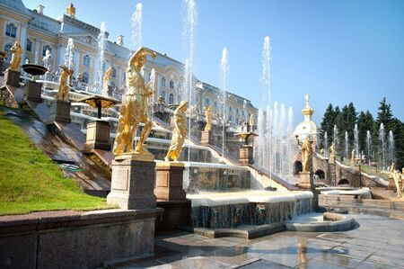 st petersburg: Grand Cascade Fountains At Peterhof Palace, St. Petersburg.