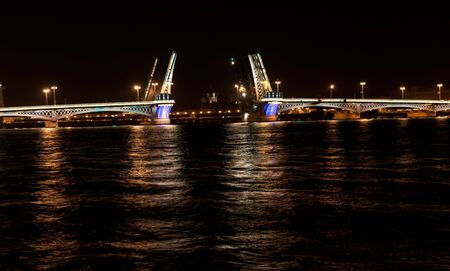 Night view of the Annunciation bridge with illumination. Saint Petersburg, Russia. photo