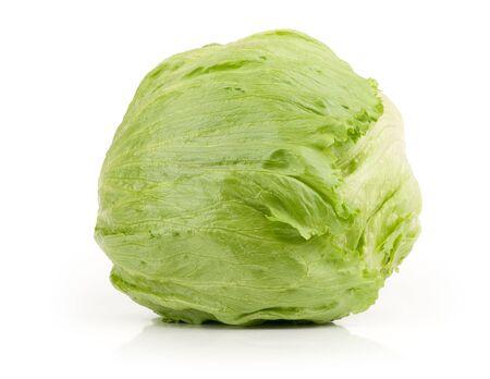 bisected: Iceberg Lettuce isolated on white