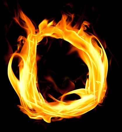 Fiery font. Letter D Stock Photo
