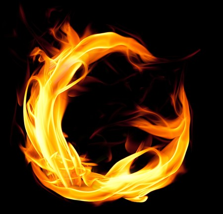 tongues of fire: Fiery font. Letter G