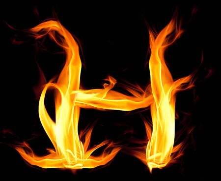 ardent: Fiery font. Letter H Stock Photo