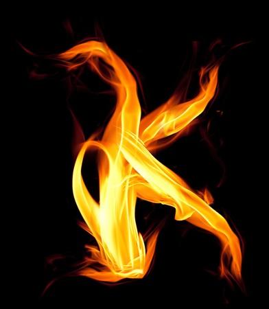 ardent: Fiery font. Letter K