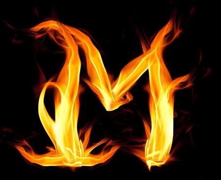ardent: Fiery font. Letter M