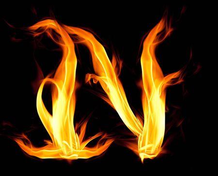 Fiery font. Letter N Stock Photo - 7679678