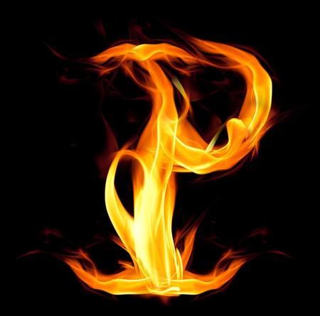 fiery font: Fiery font. Letter P