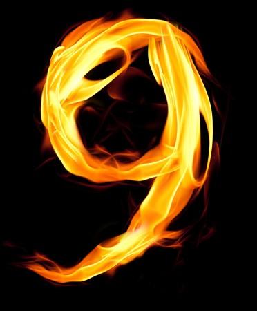 Fiery number nine photo