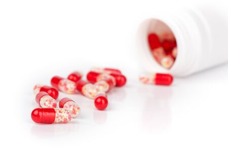closeup pills isolated on a white background photo