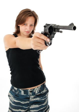 young woman with a gun isolated on white  Stock Photo - 7984930