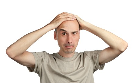 perturbed: Shocked young man Stock Photo