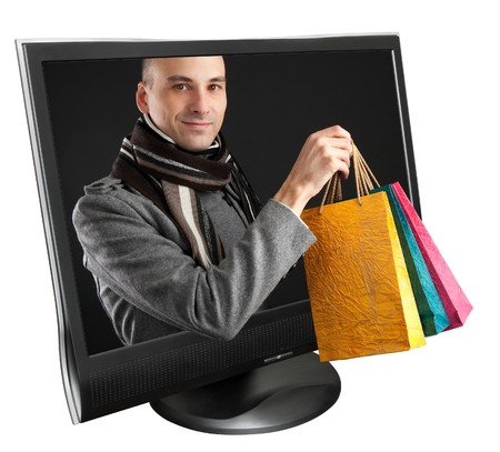 Shoping: computer monitor on a white background
