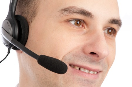 closeup portrait of friendly telephone operator Stock Photo - 8155210