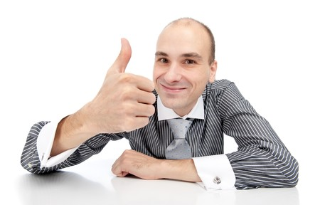 Happy businessman with thumbs up gesture, isolated on white Stock Photo - 8271844
