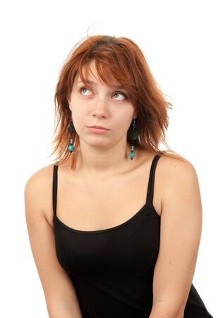 sceptic: Young disappointed woman looking away Stock Photo