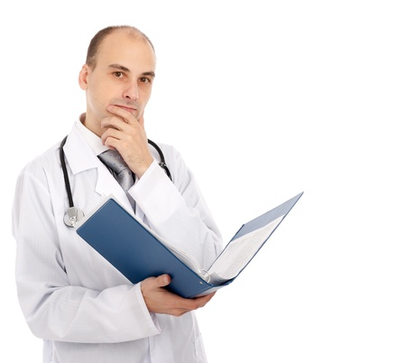 Portrait of confident doctor with a folder in hands looking at camera photo