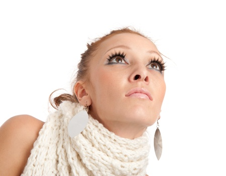 closeup portrait of beautiful young woman looking up Stock Photo - 8431936