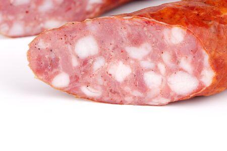 Sausage on a white background Stock Photo - 9299040
