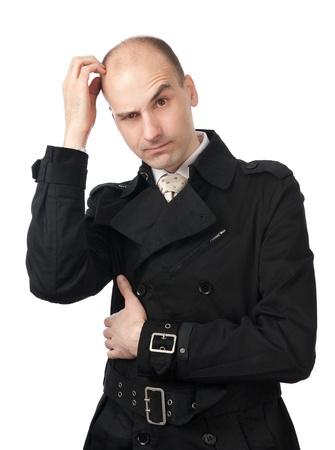 青年実業家混乱の中で彼の頭を傷します。