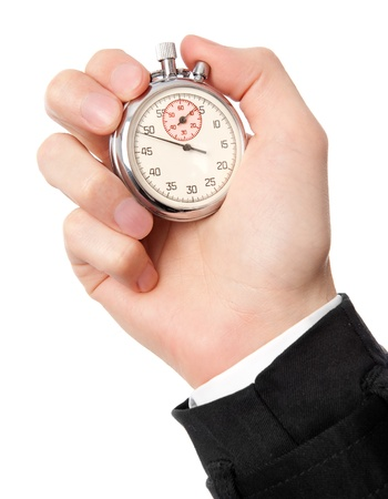 Mans hand holding stopwatch, isolated on the white background.