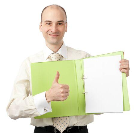 ビジネスの男性とフォルダー