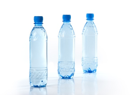 Purify drinking water in a clear bottle photo