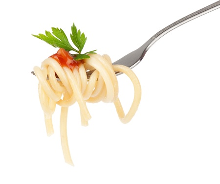 eating noodles: pasta on fork isolated on white