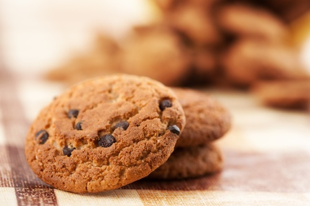 cookie baking: cookies with chocolate closeup Stock Photo