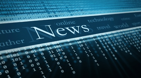 news background: technology background, News text in perspective