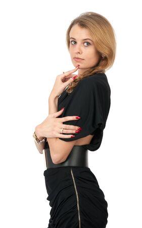 jeune femme pensive caucasien sur fond blanc