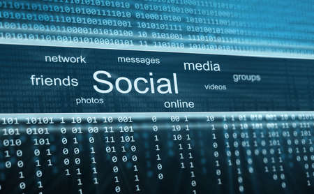 Social media, technology background photo