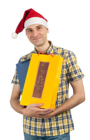 man holding shopping bags of Christmas presents Stock Photo - 11389171