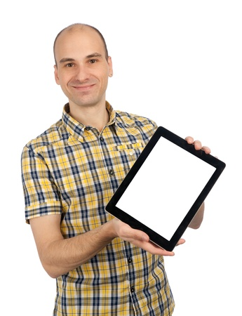 Jeune homme tenant un Tablet PC Touch Pad sur fond blanc isolé Banque d'images