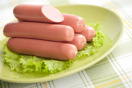 Sausages on a plate closeup