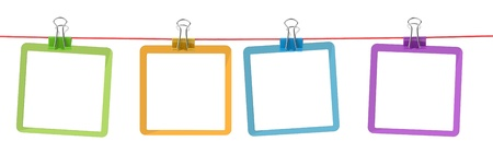 white sheet: color frames on the rope with clothespins